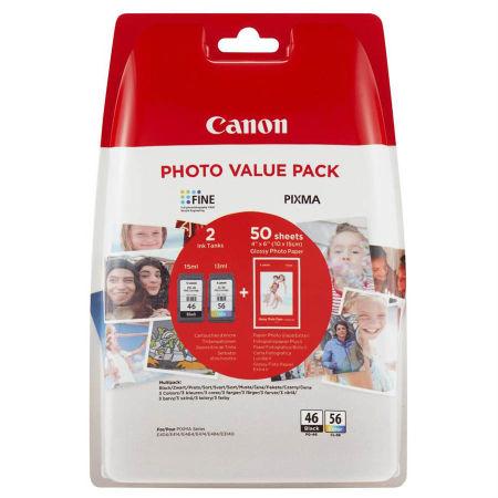 Canon PG46-CL56 Siyah ve Renkli Kartuşlu Avantajlı Fotoğraf Paketi