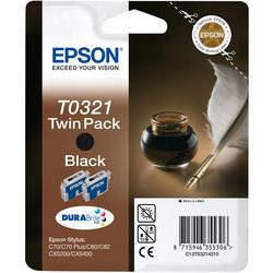 Epson - Epson T0321-C13T03214220 Siyah Orjinal Kartuş 2Li Paketi