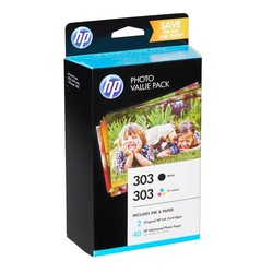 HP - Hp 303-Z4B62EE Siyah ve Renkli Kartuşlu Avantajlı Fotoğraf Paketi
